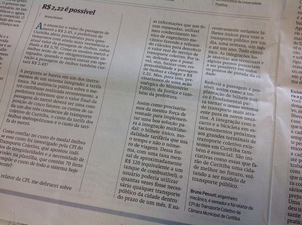 R$ 2,22 é possível - Artigo do vereador Bruno Pessuti na Gazeta do Povo - Bruno Pessuti
